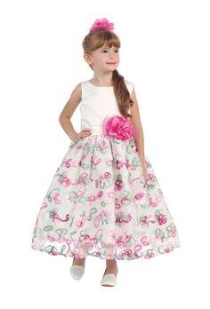 New arrival! Ivory multicolor Flower Girl Dress.