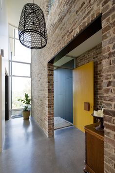 This exposed brickwork/polished concrete floor combination gives a great industrial feel whilst still looking very modern and achieving a very sharp finish. Concrete Bricks, Concrete Floors, Concrete Furniture, Urban Furniture, Brick Interior, Interior Design, Recycled Brick, Loft, Brick Flooring