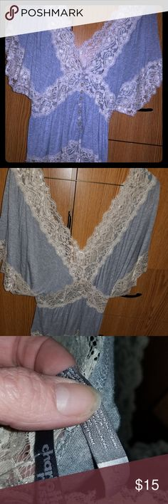 Womans large grey blouse Womans large grey blouse with ivory trim In excellent condition Charlotte Russe Tops Blouses