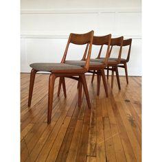 Set of Four Vintage Midcentury Danish Teak Boomerang Dining Chairs by Erik Christensen in Kvadrat Wool