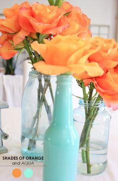 The Perfect Palette: 10 Wedding Color Palettes You Need to Consider! - Shades of Orange + Aqua: I can't say enough about this pretty palette! Perfect for tropical or destination weddings. Orange Wedding Colors, Orange Color, Orange Flowers, Blue Orange Weddings, Color Splash, Fall Wedding, Dream Wedding, Color Inspiration, Wedding Inspiration