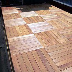 Parquet wood design for an urban roof deck