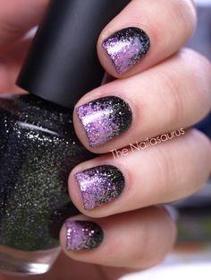 The Nailasaurus: black & purple glitter