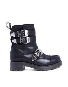 90bd40bed3d Bronx Leather Biker Buckle Detail Boots