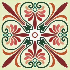 Square ornamental designs taken from the ceiling of the Parthenon. Both ornaments are stencils and feature the palmette motif. Tile Crafts, Sharpie Art, Stained Glass Designs, Diy Carpet, Mandala Coloring, Stencil Designs, Rangoli Designs, Tile Patterns, Stitch Patterns