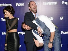 """Jaimie Alexander, left, Sullivan Stapleton and Zachary Levi have a moment at the """"Entertainment Weekly"""" and """"People"""" Upfronts party. Evan Agostini, Invision via AP Zachary Levi, Zachary Quinto, Kill Me Three Times, Blindspot Tv, Sullivan Stapleton, Lady Sif, Jaimie Alexander, Sundance Film, Entertainment Weekly"""