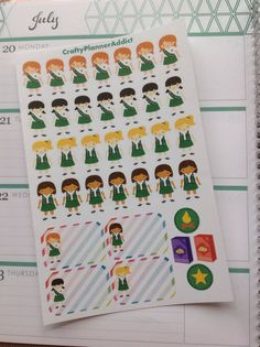 These Girl Scout stickers are super cute to mark Girl Scout meetings and activities!  These stickers are printed by me and then die cut with