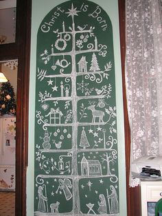 Another Scandinavian Christmas Tree drawing, this one with a Nativity Scene Scandinavian Christmas Trees, Swedish Christmas, Handmade Christmas, Christmas Tree Drawing, Xmas Tree, Christmas Design, Christmas Themes, Christmas Fun, Christmas Chalkboard