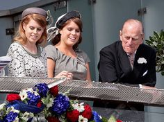 Princesses Beatrice and Eugenie, with Prince Philip, during the Queen's Diamond Jubilee, June 2012.