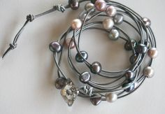 Pink blush and glowing silver pearls leather by LibertyOriginals