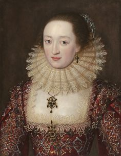ab. 1615 English School - Portrait of a Lady in Red Dress