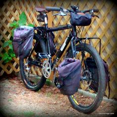 Picture of front rack and panniers on mountain bike for touring Panniers, Bicycle Women, Cargo Bike, Touring Bike, Bike Accessories, Mountain Biking, Bicycling, Pictures, Campers
