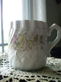 Antique Porcelain Mustache Mug .