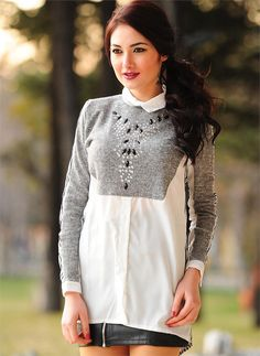 Bayan Bluz Gömlek Yaka Taşlı| Modelleri ve Uygun Fiyat Avantajıyla | Modabenle