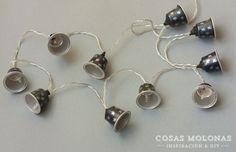 DIY Guirnalda de luz con cápsulas de café recicladas - Cosas Molonas