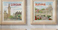 Bonitos gráficos de cuatro bonitas ciudades... Angry Birds, Hama Beads, Decoupage, Hello Kitty, Ideas Prácticas, Vintage World Maps, Frame, Decor, Cross Stitch Landscape