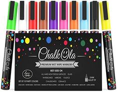 Amazon.com : Fine Tip Chalk Markers - Pack of 10 neon color pens - Non Toxic Wet Erase Chalkboard Window Glass Pen - 3mm reversible bullet & chisel nib : Office Products