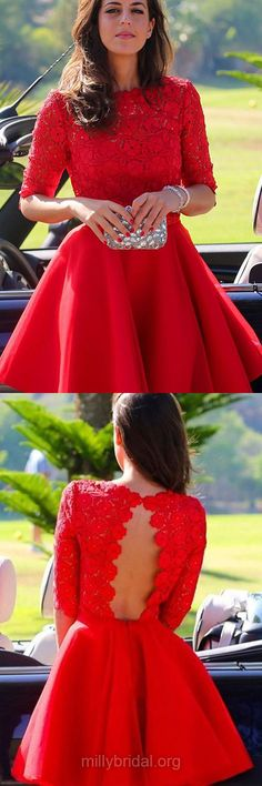 Best Red Prom Dresses,Scoop Neck Short Party Dresses, Lace Formal Dresses,Chiffon Graduation Dress,1/2 Sleeve Homecoming Dresses