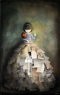 girl with books in her heart