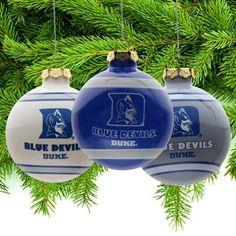 Duke Blue Devils Three-Pack Glass Ball Ornament Set