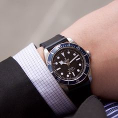 The Tudor Black Bay watch is an easy accessory for men to pair with a casual or fancy outfit.