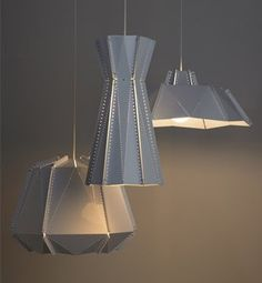 bernabeifreeman Seams Lights Perforated, folded aluminium light, Gloss powdercoat finish, White flex with stainless steel suspension cable Metal Projects, Metal Crafts, Electrical Fixtures, Suspension Cable, Geometry Shape, Perforated Metal, Workspace Inspiration, Cool Lamps, Chandelier Lighting
