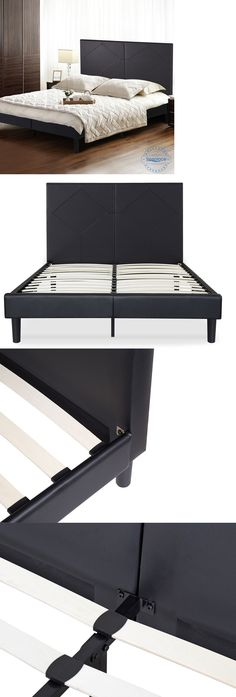 Beds and Bed Frames 175758: Sleeplace Wood Slat Platform Bed Frame With Diamond Faux Leather Headboard -> BUY IT NOW ONLY: $202.98 on eBay!