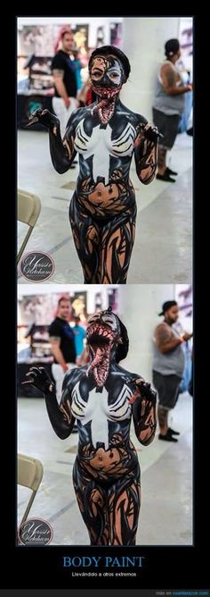 Venom Cosplay with body paint Star Lord Halloween Costume, Halloween Kostüm, Halloween Cosplay, Cosplay Marvel, Cosplay Anime, Cosplay Girls, Cosplay Hair, Sailor Moon Cosplay, Amazing Cosplay