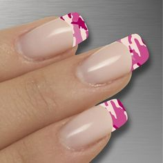 French Nails Pink Camouflage just normal camo would be cool too ;),  Go To www.likegossip.com to get more Gossip News!