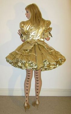 Just Sissy Elegance Frilly Dresses, Satin Dresses, Pretty Dresses, Sexy Dresses, Beautiful Dresses, Girls Dresses, Golden Dress, Maid Outfit, Playing Dress Up