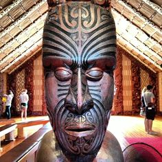 Carved head, Maori meeting house -- Waitangi Treaty Grounds, New Zealand.