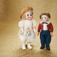 Johann Daniel Kestner company — Pair German Bisque Googlies 221 in Antique Costume, Old Dolls, Antique Dolls, Vintage Dolls, Dollhouse Dolls, Miniature Dolls, Child Doll, Baby Dolls, Kewpie, Bear Doll