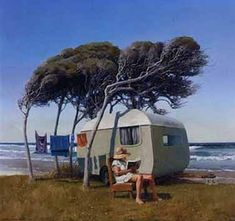 Sitting Pretty by Barry Ross Smith for Sale - New Zealand Art Prints Vintage Travel Trailers, Vintage Caravans, Vintage Campers, Retro Campers, Retro Caravan, New Zealand Art, Nz Art, Kiwiana, Travel Brochure