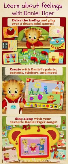 Learn about feelings and emotions from Daniel Tiger - A fun app from PBS Kids full of engaging activities.