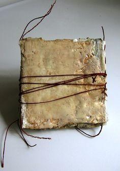 """Bridgette Guerzon Mills : """"love notes to winter""""  book art, encaustic, plaster, thread, photos, cloth"""