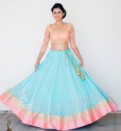 turquoise, sky blue and blush pink lehenga, pastel lehenga, brides best friend lehenga, ice cream colors georgette lehenga