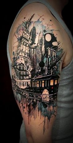 Urban city arm tattoo. People who like to remember where they grew up usually tattoo themselves with the city or town in which they are from for nostalgia purposes.