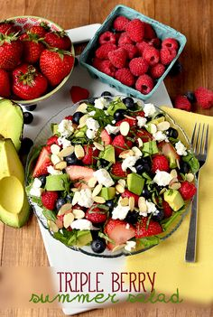 Triple Berry Summer Salad Ingredients: 9oz baby spinach, torn 1 cup sliced strawberries 1 cup raspberries 1 cup blueberries 1/2 cup sliced almonds, toasted 1/3 cup chopped basil 1 avocado, chopped 4oz goat cheese