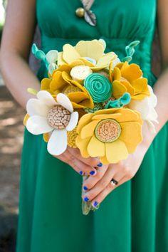 Custom Wildflower Felt Wedding Bouquet - Bridal - Alternative to fresh flowers - Yellow and Green Bouquet -