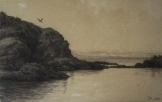 Charles François DAUBIGNY, Côte rocheuse à Villerville, dessin, Cerca Trova, Proantic