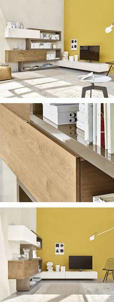 Die Moderne Eckwohnwand C29A Von Livitalia Mit Integrierter TV Halterung  Hat Ein Geradliniges Design. #