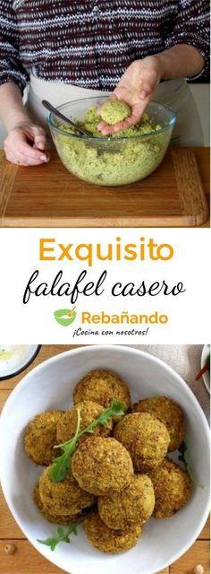 We teach you how to prepare homemade FALAFEL - Cocina del mundo - Recetas Vegetarian Recepies, Veg Recipes, Vegan Vegetarian, Real Food Recipes, Cooking Recipes, Yummy Food, Healthy Recipes, Falafels, Going Vegan