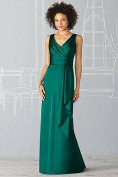 Ruching Ruffles V-neck  Satin Green A-line Bridesmaid Dress