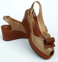 Remix Vintage Scroll Slingback Wedge in Taupe Suede & Tan Leather.