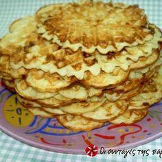 Βάφλες με φέτα Feta, Breakfast Time, Apple Pie, Brunch, Cookies, Desserts, Recipes, Crack Crackers, Tailgate Desserts