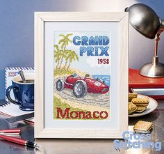 Vintage sport poster - Grand Prix in cross stitch. Spoil the man in your life with our on-trend vintage-style project – echoing the classic posters of motor-racing's heyday, find this design (the first in a new collectable series!) only in the issue 227 of The World of Cross Stitching magazine, out now