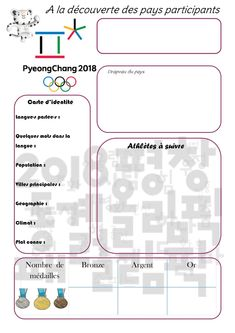 Les JO d'hiver 2018 auront lieu à Pyeongchang , Corée du Sud, du 9 au 25 au février 2018 : 82 nations seront représentées ! Un gros g... Core French, French Class, French Lessons, Teaching Tools, Teacher Resources, School Organisation, French For Beginners, French Education, French Resources