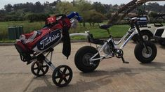 The new golf-centric Hanebrink pedelec bike was developed as a faster charging and cleaner alternative to existing four-wheeled golf carts that would have less impact on the turf. New Electric Bike, Electric Golf Cart, Electric Motor, Golf Cart Tires, Golf Carts, Ogio Golf Bags, Golf Cart Accessories, Off Road Bikes, Bike Details