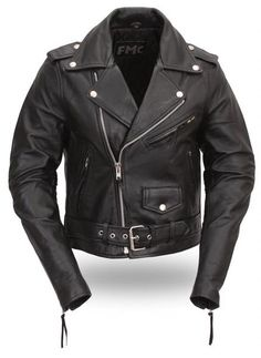 Womens Black Leather Motorcycle Biker Jacket w Half Belt-FMC Women's Classic Motorcycle Jacket made by First Manufacturing Company.Half belt for easy adjustment. Black Leather Motorcycle Jacket, Moto Jacket, Classic Motorcycle, Motorcycle Jackets, Motorcycle Gear, Biker Gear, Motorcycle Girls, Biker Leather, Motorcycle Style