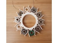 """A no-tangle circular bobbin holder for Class Style bobbins (the most common kind). One """"sun"""" carries 10 bobbins. Useful 3d Prints, Bobbin Storage, Love Tips, 3d Printer, Printing, Sun, Ideas, Thoughts, Solar"""